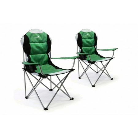 2 ks kempingová přenosná židlička, skládací, ocel / textilní potah