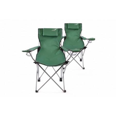 2 ks skládací přenosná židle s textilním potahem, zelená