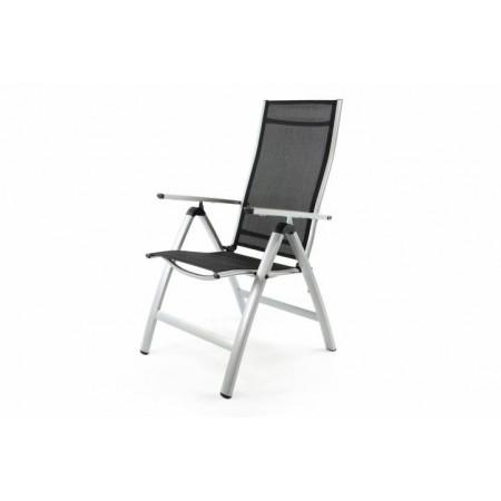 Moderní skládací zahradní židle, hliníkový rám, stříbrná / černá
