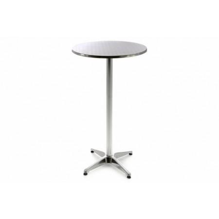 Vysoký barový stolek venkovní / vnitřní, výška 100 cm, stříbrný