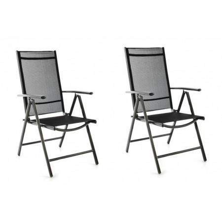 2 ks skládací zahradní židle s prodyšným potahem, černá