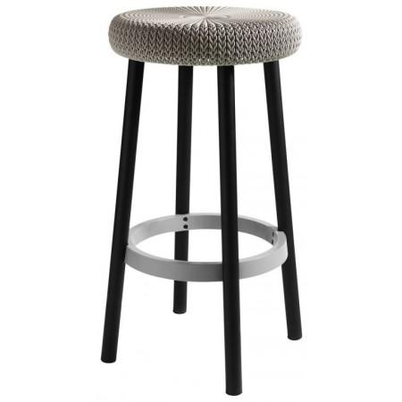 Designová stolička, pletený vzor, písková, 66 cm