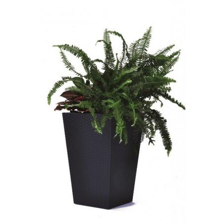 Větší okrasný květináč, ratanový vzhled, antracit, 57 cm