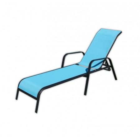 Designové zahradní lehátko, nastavitelná opěrka, světle modré