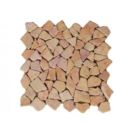 Obklad / dlažba, mozaika z oblázků béžová / růžová, 1 ks