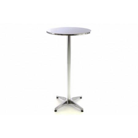Kulatý vysoký stolek ke stání, sklopný, stříbrný, 110 cm