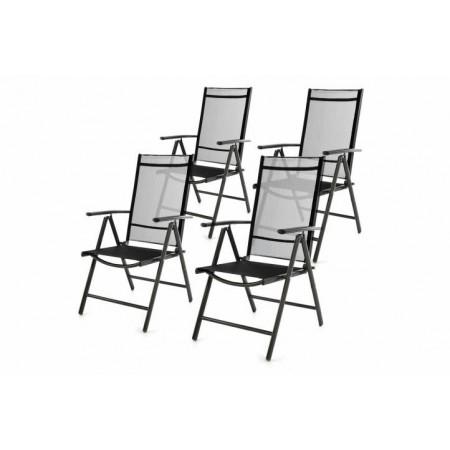 4 ks zahradní židle se skládacím hliníkovým rámem, černá
