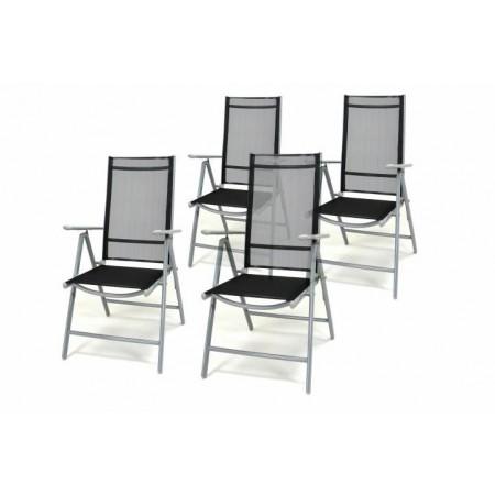 4 ks zahradní židle se skládacím hliníkovým rámem, černá / šedá