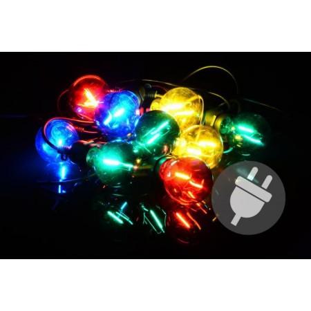 Voděodolné venkovní párty osvětlení- barevné žárovky, 7 m