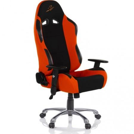 Měkká otočná kancelářská židle, vzhled sportovní sedačky aut, černá / oranžová