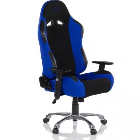 Měkká otočná kancelářská židle, vzhled sportovní sedačky aut, černá / modrá