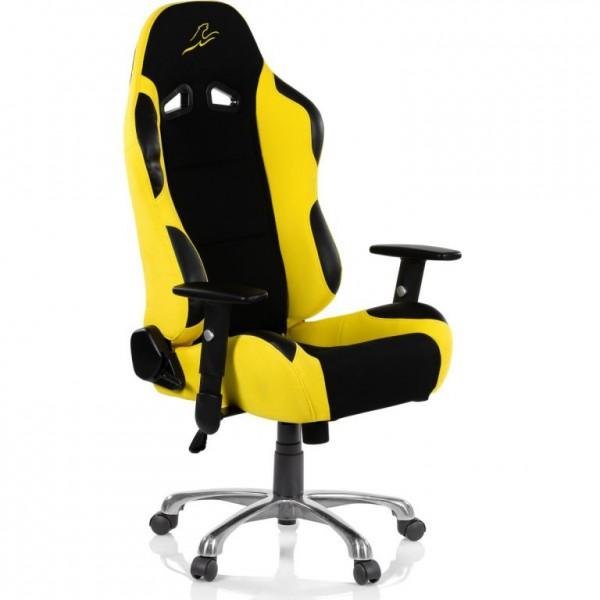 Měkká otočná kancelářská židle, vzhled sportovní sedačky aut, černá / žlutá