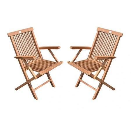 2 ks dřevěná zahradní skládací židle, teakové dřevo