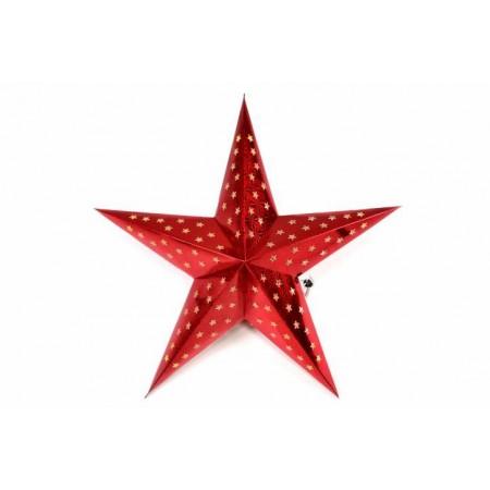 Svítící hvězda na baterie, vnitřní, časovač, 45 cm, červená