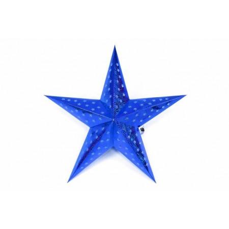 Svítící hvězda na baterie, vnitřní, časovač, 45 cm, modrá