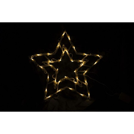 Vánoční světelná dekorace do okna- hvězda s LED diodami, 40 cm