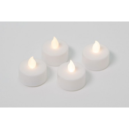 4 ks elektrická čajová svíčka, dekorace do bytu, bílá