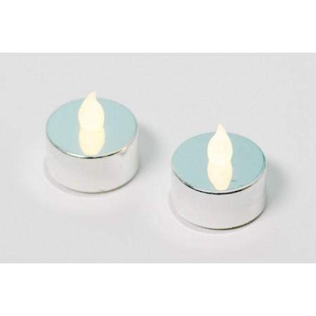 2 ks elektrická čajová svíčka, dekorace do bytu, stříbrná