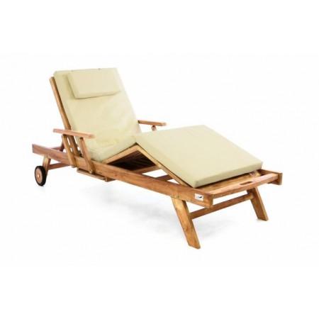 Luxusní dřevěné lehátko na terasu / k bazénu, vč. polstrování, krémové