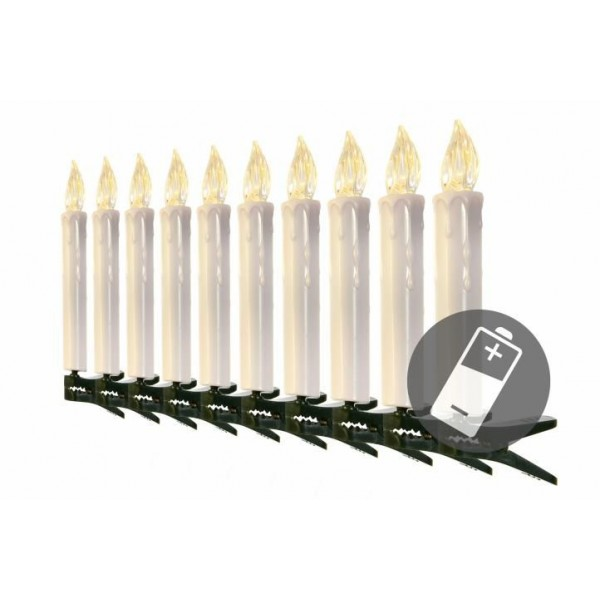 Bezdrátové elektrické svíčky na stromeček, dálkové ovládání, 10 ks