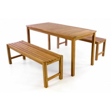Dřevěný masivní nábytek na zahradu / terasu, stůl + lavice