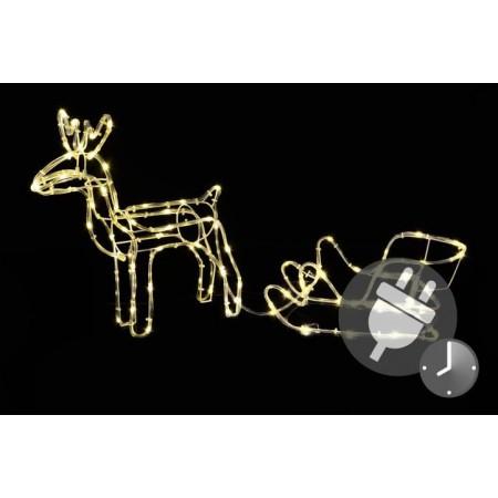 Svítící figurka soba se sáněmi- dekorace venkovní, vnitřní, 85 cm
