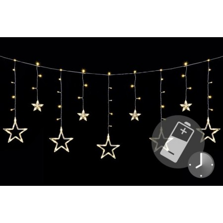 Vánoční řetěz- svítící hvězdy, dálkové ovládání, 1,65 m
