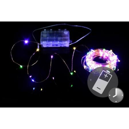 LED řetěz na baterie, drát + mini LED diody, časovač, 9,7 m