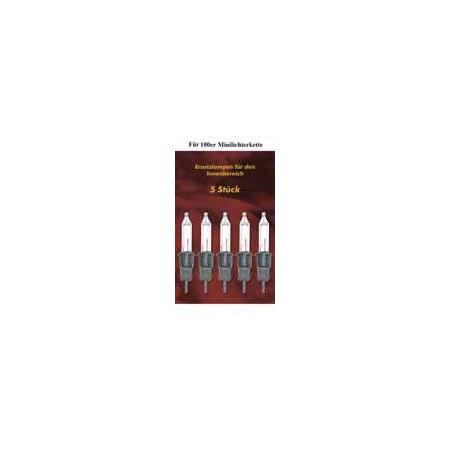 5 ks náhradní žárovka pro vánoční žárovkové řetězy, čirá, 12 V