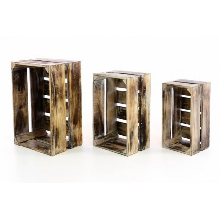 3 ks designová dřevěná bedýnka, rustikální vzhled