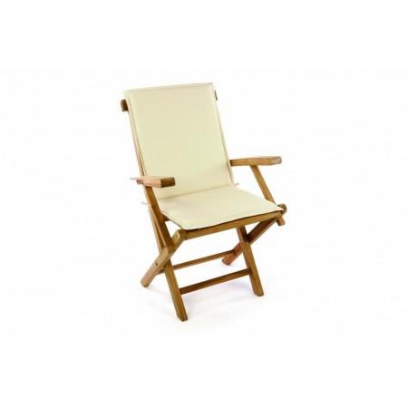 Masivní dřevěná skládací zahradní židle vč. polstrování, krémová