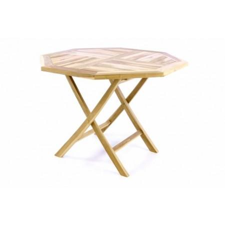 Dřevěný skládací stůl z masivu, teakové dřevo, průměr 100 cm