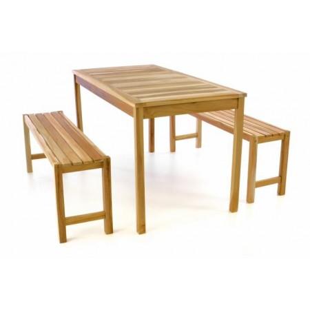 Masivní zahradní nábytek- teakové dřevo, stůl + lavice, 135 cm