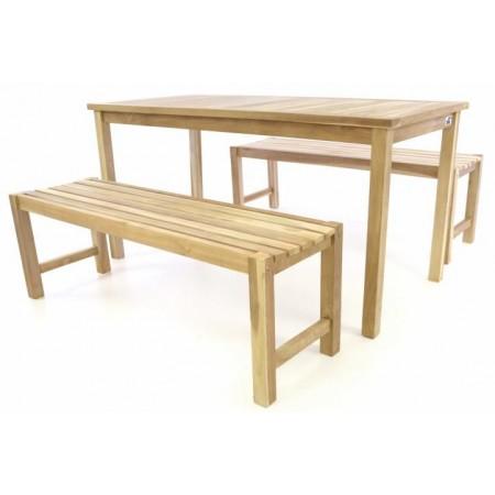 Zahradní kempinkový dřevěný set, stůl + 2 lavice, 150 cm