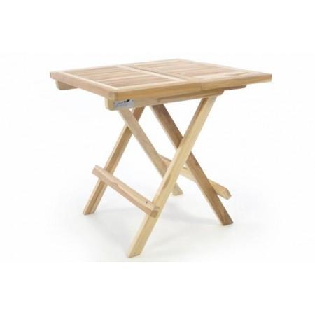 Malý teakový dřevěný stolek venkovní / vnitřní, skládací, 50x50 cm
