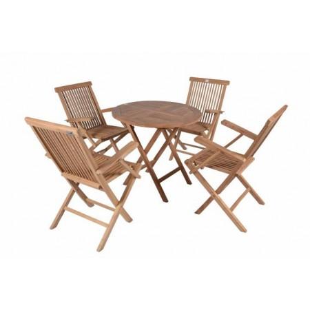 Menší sestava venkovního nábytku, stůl+ 4 židle, teakové dřevo