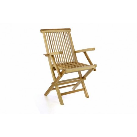 Skládací dřevěná balkonová židle, teak, opěrky rukou
