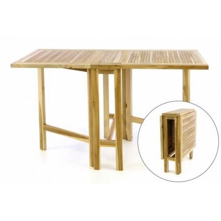 Skládací masivní dřevěný stůl na terasu / zahradu, 130x65 cm