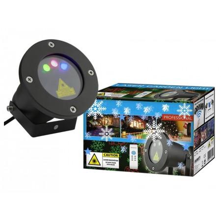 Vánoční laserový projektor - červená, zelená, modá - 20 x 20 m s časovačem