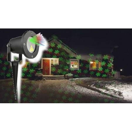 Vánoční laserový projektor - zelená/červená 8 efektů - 20 x 20 m s časovačem