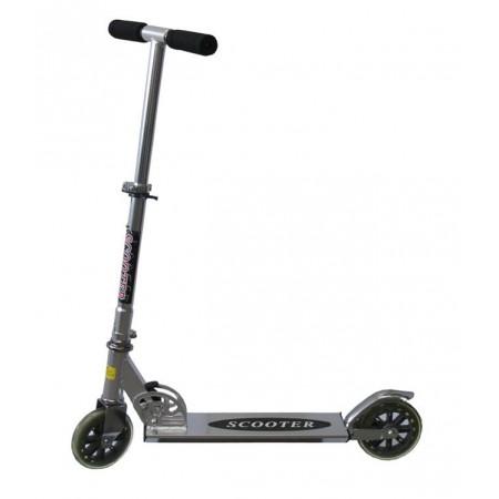 Skládací koloběžka stříbrná, nastavitelná řidítka, nosnost 100 kg