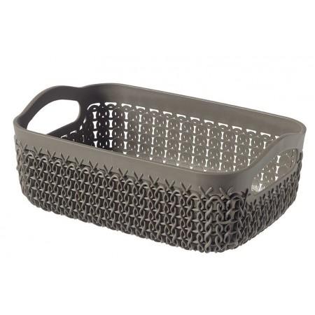 Plastový košík obdélníkový hnědý, ozdobný vzor, A6