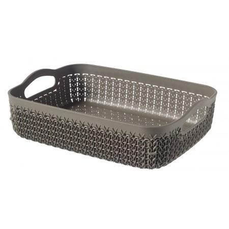 Plastový košík obdélníkový hnědý, ozdobný vzor, A5