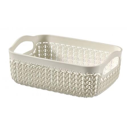 Plastový košík obdélníkový krémový, ozdobný vzor, A5