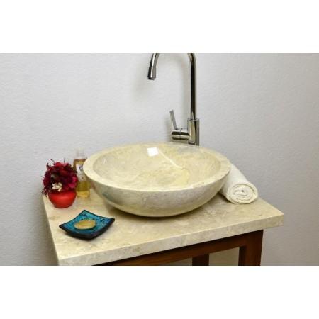 Okrasné kamenné umyvadlo do koupelny, kulaté, tvar misky, průměr 45 cm