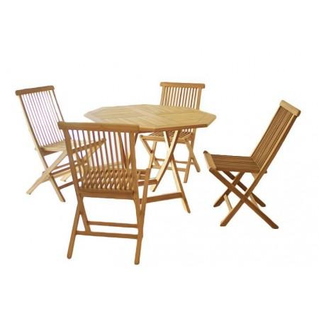 Set nábytku na balkon pro 4 osoby, kulatý stolek + 4 židle, teakové dřevo