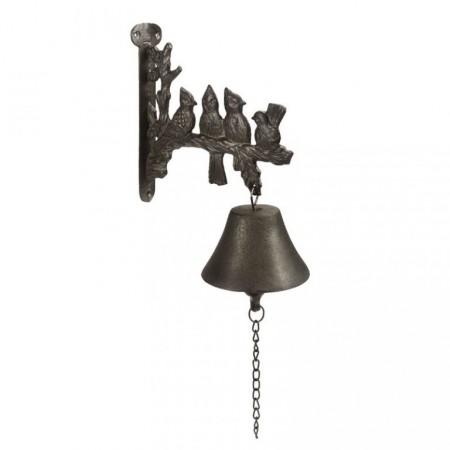 Litinový zvonek s ozdobným držákem, uchycení na stěnu, 26 cm