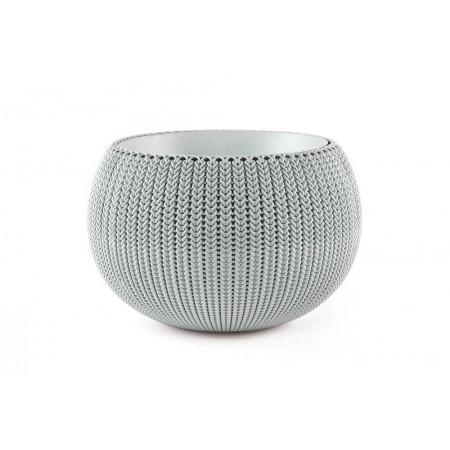 Venkovní okrasný květináč- tvar uříznuté koule, šedý, průměr 36 cm