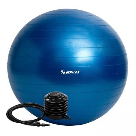 Velký nafukovací míč pro cvičení a fyzioterapie, vč. pumpy, modrý, 75 cm
