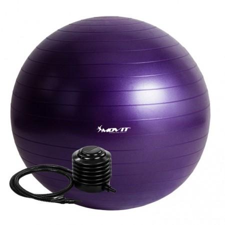 Velký nafukovací míč pro cvičení a fyzioterapie, vč. pumpy, fialový, 65 cm